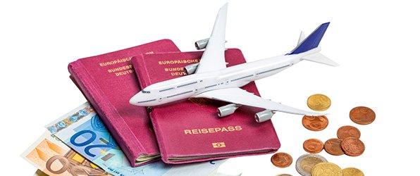 Geld, Reisepass, Flüge